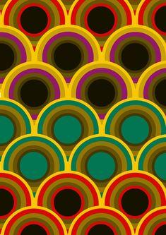 Beautiful vintage print. Multicolor waves | Ondas multicolores en este hermoso estampado vintage