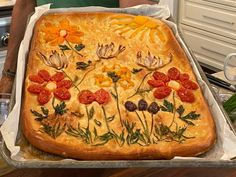 Get Garden Focaccia Recipe from Food Network Calzone, Kitchen Recipes, Cooking Recipes, Bread Recipes, Vegetarian Recipes, Healthy Recipes, Geoffrey Zakarian, Half Sheet Pan, Pickle Relish