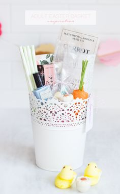 Adult Easter Basket...Love the idea of a little container for the basket