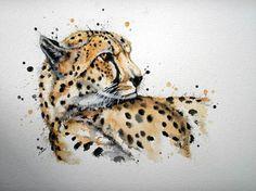 Artwork by Sam Harvey Jaguar, Big Cats Art, Watercolor Cat, Call Art, Cheetahs, Learn To Paint, Aesthetic Art, Animal Drawings, Doodle Art