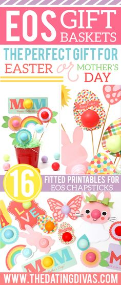 Mother's Day + EOS chapstick + Dating Diva Printables = AH-dorable gift basket for Mom, Mother-in-Law and Grandma! PLUS they have Easter options...JACKPOT!  www.TheDatingDivas.com