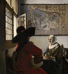 Johannes VERMEER, Officier et femme riant, 1658, Frick collection  Toutes les oeuvres de VERMEER recensées en fonction de leur situation, en Europe et aux USA.