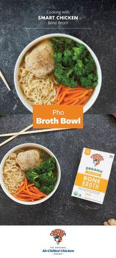 Pho Broth, Bone Broth, Chicken Brands, Chicken Pho, Boneless Skinless Chicken Thighs, Miso Soup, Broccoli Florets, Summer Food, Mediterranean Diet