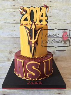 This ASU grad cake was made for a December graduation. The chocolate cake is torted, filled, and frosted with chocolate SMBC, covered in a dark chocolate ganache and covered in homemade fondant. All decorations are designed and hand-cut from fondant. College Graduation Cakes, Graduation Party Planning, Graduation Food, Graduation Cookies, Mini Cakes, Cupcake Cakes, Cake Paris, Mousse, Pie Cake