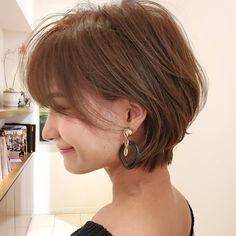 小顔効果ならひし形シルエット⭐ Short Hairstyles For Thick Hair, Curly Hair Tips, Short Hair Cuts, Curly Hair Styles, Hair Cutting Techniques, Face Hair, Pixie Haircut, Hair Designs, Hair Hacks