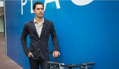 Navy Bike to Work Blazer.  Includes reflective striping in the blazer to make me visible at night.