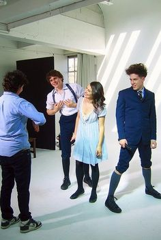 Lea Michele, Jonathan Groff, and John Gallager Jr taking a photo shoot for Spring Awakening.