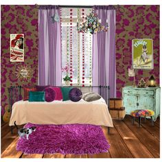 Bohemian bedroom by suzieladybug on Polyvore featuring interior, interiors, interior design, home, home decor, interior decorating, KG Kurt Geiger, Kevin O'Brien, Nearly Natural and Mulberry