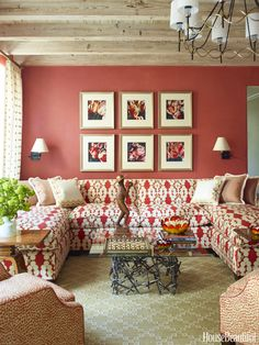 Living Room Home Design Ideas . New Living Room Home Design Ideas . Inspirational Traditional Home Interior S Decor, Red Couch Decor, Red Living Room Decor, Living Room Designs, Couches Living Room, Living Decor, Printed Fabric Sofa, Room Decor, Living Room Red