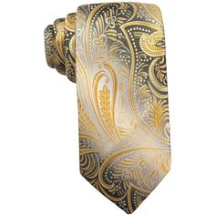 John Ashford Collins Paisley Tie, ($40) ❤ liked on Polyvore featuring men's fashion, men's accessories, men's neckwear, ties and yellow