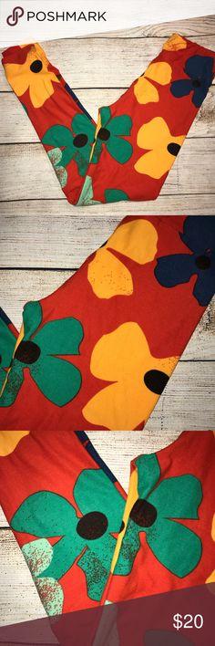 NWOT LuLaRoe Tween flower leggings (orange/red) NWOT LuLaRoe Tween flower leggings (orange/red) LuLaRoe Bottoms Leggings