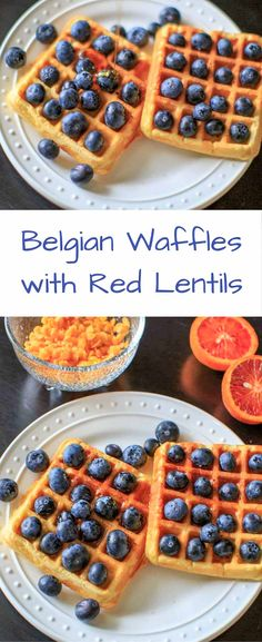 Belgian Waffles made healthy with split red lentils, blood orange juice and blueberries. Belgian lentil waffles! Breakfast doesn't get any better than this! #SpringCleanse #LoveaLentil #ad
