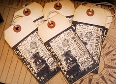 Large Paris Moulin Rouge Vintage Style Hand Stamped Tags Set of 6