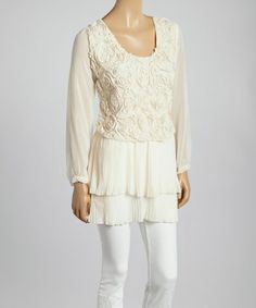 Look what I found on #zulily! Caramel Sheer Rose Long-Sleeve Silk-Blend Top #zulilyfinds