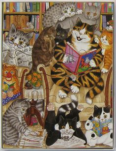 Reading Cats (Gisela Buomberger) by Leonisha, via Flickr