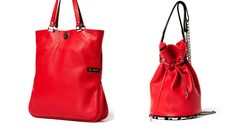Red, leather bags by Ewa Wajnert