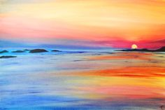 Hawaiian Sunset, an original painting on canvas of a Hawiian beach sunset