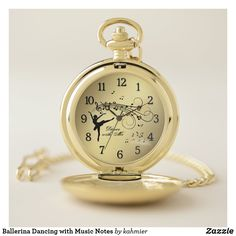 Ballerina Dancing with Music Notes Pocket Watch