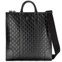 Gucci Gucci Signature Leather Tote (140.660 RUB) ❤ liked on Polyvore featuring men's fashion, men's bags, accessories, black, luggage & lifestyle bags, women, mens leather bags, mens leather tote bag and mens tote bag