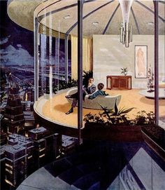 Gorgeous hand painted mid-century modern add series The House of Future for Motorola by Charles Schridde, 1961. / Business Insider