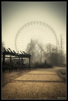 Spreepark, Germany~carnival in the mist with a dilapidated structure in the foreground awesome inspiration