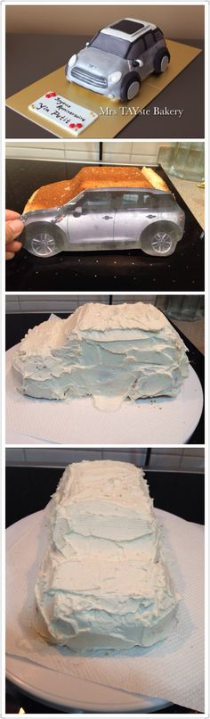 How to make a car / Mini Cooper fondant cake - by Mrs TAYste Bakery in Shanghai Car Cake Tutorial, Fondant Cake Tutorial, Fondant Cakes, Cake Decorating Icing, Cake Decorating Techniques, Cake Decorating Tutorials, Cupcakes, Cupcake Cakes, Mini Cooper Cake