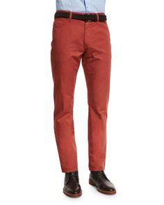 ERMENEGILDO ZEGNA FIVE-POCKET COTTON-LINEN PANTS, VERMILLION. #ermenegildozegna #cloth #