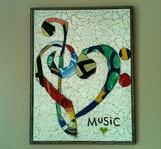 Treble and bass clef heart license plate art www.musicasartbysarah.etsy.com https://www.facebook.com/MusicAsArtBySarah