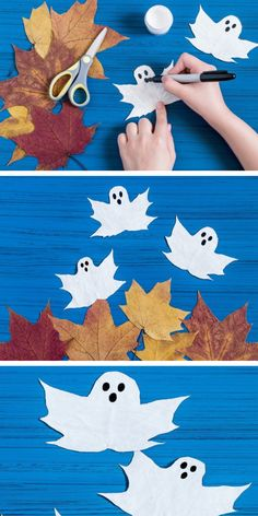 Turn autumn leaves into spooky ghosts with this craft tutorial for kids. Make pa… Turn autumn leaves into spooky ghosts with this craft tutorial for kids. Make painted ghost leaves. Halloween Crafts For Toddlers, Toddler Crafts, Preschool Crafts, Kids Crafts, Cheap Fall Crafts For Kids, Preschool Classroom, Summer Crafts, Decor Crafts, Easy Crafts