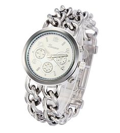 Fanmis 2 Row Silver Stainless Steel Chain Link Bracelet Analog Ladies Watch -Silver. The three small dial don't work, only for decoration. Round watch with silver-tone sunray dial and linked bracelet. Quartz movement with analog display. Features jewelry clasp closure. Protective mineral crystal dial window.