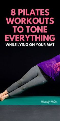 8 pilates workouts to tone everything while lying on your mat. The perfect workout to help you tone up, when you don't feel like working out. Get lean and toned with these 8 exercise videos. workout 8 Pilates Workouts To Tone Everything - Beauty Bites Pilates Workout Videos, Pilates Training, Fitness Workouts, Zumba Fitness, Fitness Video, Pilates Barre, Toning Workouts, Easy Workouts, At Home Workouts