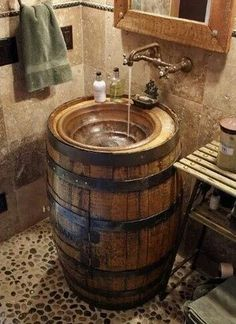 10 Awesome DIY Rustic Bathroom plans you might build for your bathroom decor Bar. - 10 Awesome DIY Rustic Bathroom plans you might build for your bathroom decor Barrel Sink Bathroom # - Rustic Bathroom Designs, Rustic Bathroom Decor, Rustic Bathrooms, Rustic Decor, Bathroom Ideas, Bathroom Plans, Rustic Design, Rustic Style, Outhouse Bathroom