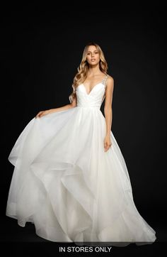 Main Image - Hayley Paige Dare Embellished Draped Organza Ballgown (In Stores Only)