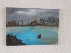 Acryl Kunst Acrylmalerei Abstrakt Leinwand Keilrahmen 50 x 70 m Das Boot