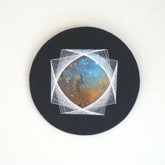 Hand Made String Art Circle Wall Hanging Eagle Head Nebula Minimalist Geometric