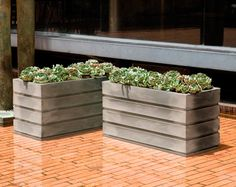 Modern planters with low rectangular lines like the Elmhurst planter, which has been featured in Better Homes and Gardens magazine, can be hard to find, but you're in luck – end your search here. These modern planters have an amazing number of feature Rectangular Planters, Modern Planters, Modern Patio, Outdoor Planters, Garden Planters, Outdoor Decor, Outdoor Living, Outdoor Furniture, Aquaponics Fish