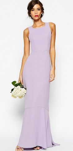 Dare To Dream Light Purple Lavender Sleeveless Square Neck Cut Out Cross Back Fishtail Mermaid Maxi Dress Gown