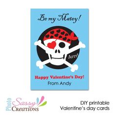 Pirate Valentine's day cards for kids