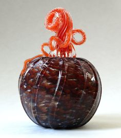 Hand Blown Glass Pumpkin Orange Amber White by ajjewelrydesigns