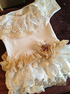 Ruffled Vintage Lace Onesie Bodysuit Birthday Party  by Rosanna Hope for Babybonbons, first Birthday, Baptism, Baby Photo Shoot, Wedding