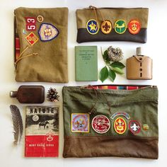 "Den & Delve: A preview of a few Camp & Scout collection pieces… Pictured here are ""Cub Scout 53"", ""Be Prepared Pencil Case"" and the ""District Camporee"" pouch."