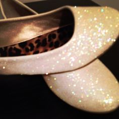 Ivory Glitter Bridal Shoes Wedding Flats by ashleybrooks1984 - not a fan of leopard print, but love the outside of these shoes.