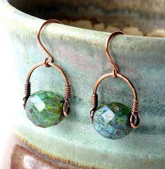 Green bead earrings faceted teal Czech glass by dalystudios