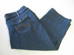 Lee Capri Jeans Pants 22 Blue Denim Adjustable Waist #Lee #CapriCropped