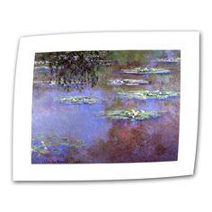 ArtWall Claude Monet ' Roses II' Flat (18x22, image dimensions:14x18 gallery flat ), Blue