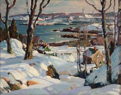 """""""Winter View of Rockport Harbor,"""" Aldro Thompson Hibbard, oil on canvas, 7 3/4 x 9 3/4"""", private collection."""