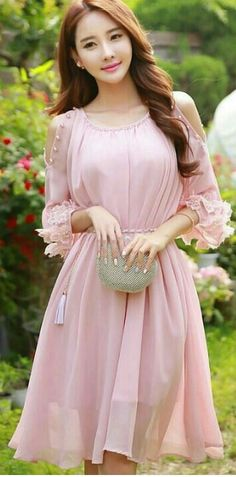 fb3e65c05 코리아카지노 Floral Chiffon Dress, Chiffon Dresses, Prom Dresses With Sleeves,  Pink Prom