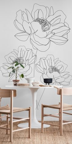 Minimal Line Art Flowers Wallpaper Flower Mural, Flower Art, Motif Floral, Floral Wall, Bedroom Murals, Bedroom Wall, Mural Art, Wall Murals, Line Art Flowers