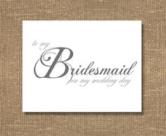To My Bridesmaid On My Wedding Day Card by RockCandieDesigns