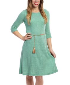 This Mint Three-Quarter Sleeve Sheath Dress - Women by Sharagano is perfect! #zulilyfinds